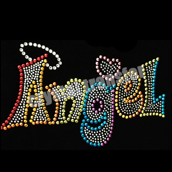 Angel Rhinestone Letters Transfers Iron On T Shirts Designs