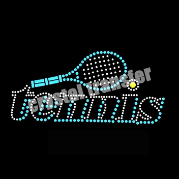 Play Tennis Rhinestone Hotfix Transfer Crystal Stones
