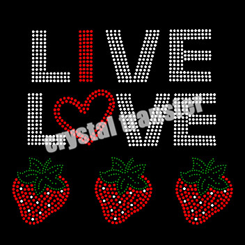 Live Love Stawberries Hot Fix Motif Iron on Transfers