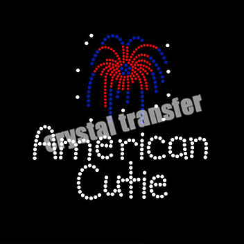 Custom Rhinestone Motif America Cutie Iron on Transfers