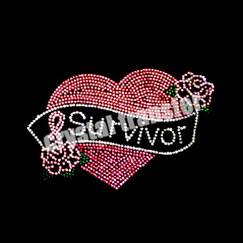 Crystal Heart Survivor Iron on Transfers Wholesale For Garment