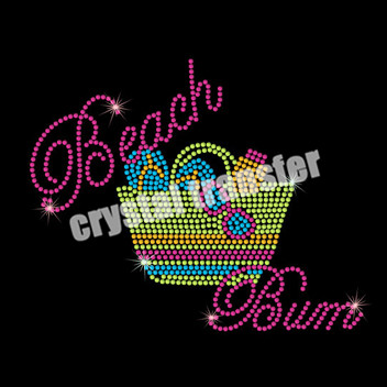 Beach Bum Rhinestone Heat Transfers Fashion Wholesale