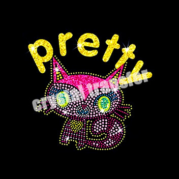Pretty Cat Rhinestone Heat Transfers Glitter Transfers New Design Wholesale