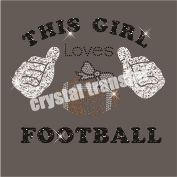 This Girl Loves Football Rhinestone Heat Transfers New Motif Glitter Transfers