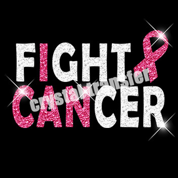 Fight Cancer Custom Glitter Heat Transfers Wholesale Embroidery