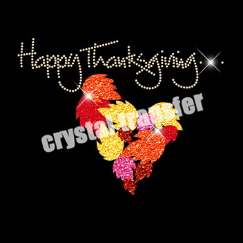 Happy Thanksgiving Glitter Transfers Iron on Rhinestone Transfers Wholesale