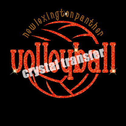 Volleyball Custom Design Glitter Iron Ons Heat Hotfix Motif for Clothing