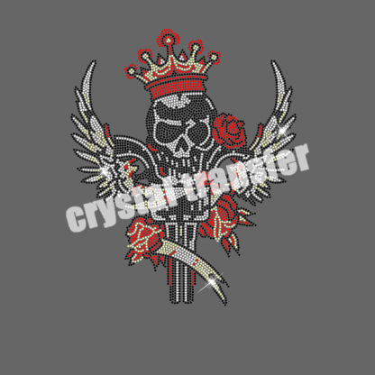 Red Rose Blood Skull King Rhinestone Iron On Transfers Wholesale Hot Fix Design