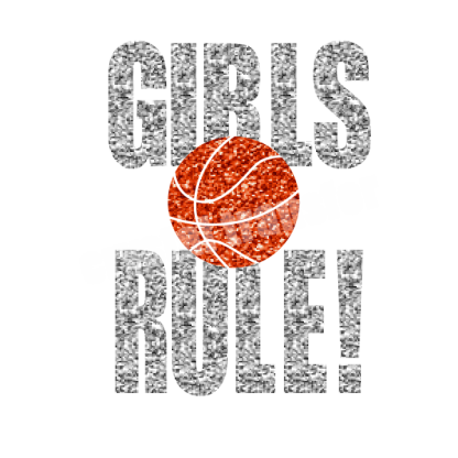 Girls Rule Basketball Sports Rhinestone Transfer