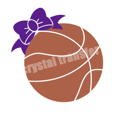 Basketball With Bow Vinyl Hot Fix Crystal Transfer