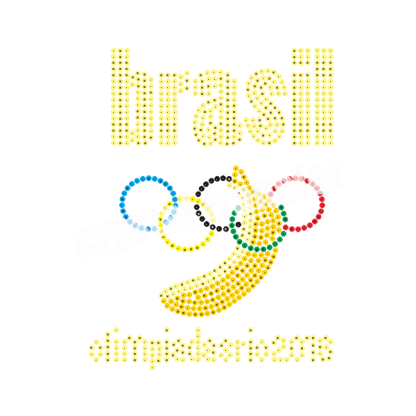 Brazil Sports Olympic Sequin Rhinestone Transfer Wholesale Supplier