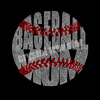 Glittering Baseball Batter Iron on Rhinestone Transfer Decal