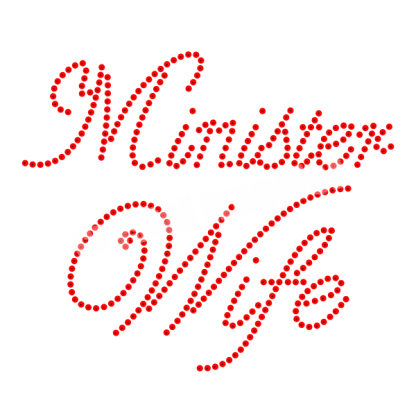 Minister Wife Sequin Transfers Hot Fix Design