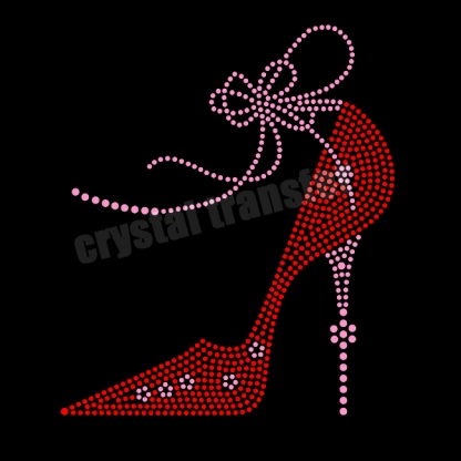 Bowknot Bandage  Red High Heels Rhinestone Heat Transfers