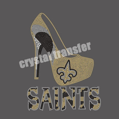 Saints black and gold High Heel Crystal transfers  pattern Wholesale