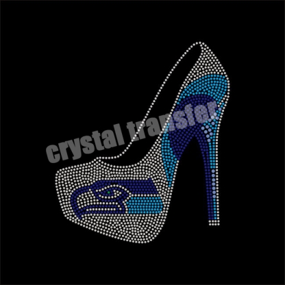 Seahawks Pattern High Heel shoes  Rhinestone heat transfers Wholesale design