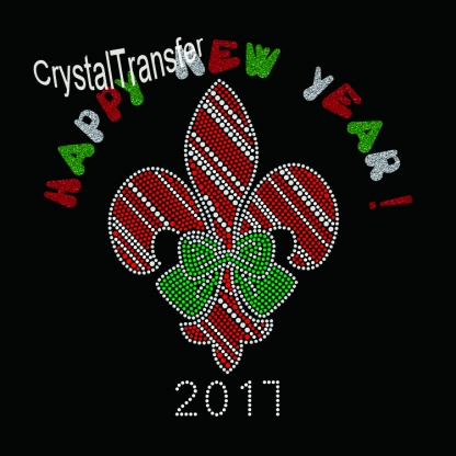 2017 Happy New Year  Christmas Rhinestone transfers New Design Glitter Hot Fix Motif
