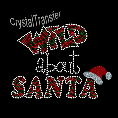 Rhinestone Heat Transfers design Glitter Wild About Santa Pattern Wholesale