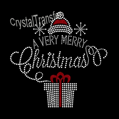 Crystal Heat Transfers design  Glitter A Very Merry Christmas Pattern Wholesale