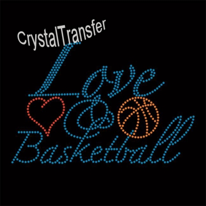 Customize Rhinestone Love Basketball Iron on  design wholesale