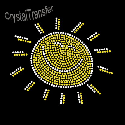 Custom Smiling Sun  Wholesale Rhinestone Heat Transfers