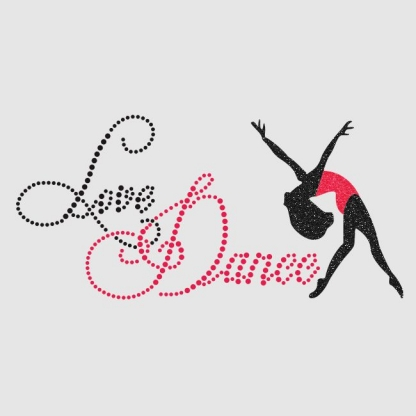 Custom Love Dance Nailhead and Glitter Pattern Wholesale