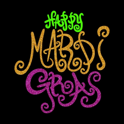 Custom Latest Happy Mardi Gras Neon Glitter Transfers Individual Design