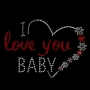 I Love You Baby Custom Glitter Heat Transfer Iron On Decals Wholesale